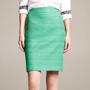 Emerald green tweed banana republic pencil skirt